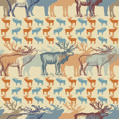 Christmas seamless pattern with reindeer