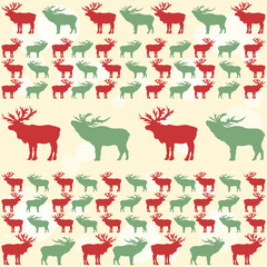 Christmas pattern with deers festive new year vintage background
