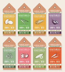 Vegetable seeds packets template. Vegetables tags design