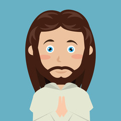 cartoon face Jesus christ blue eyes design isolated vector illustration eps 10