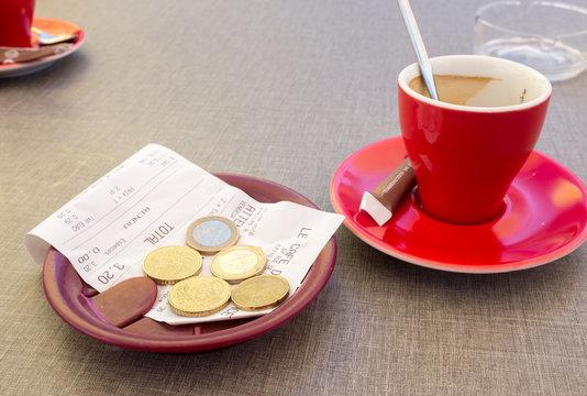 café et l'addition