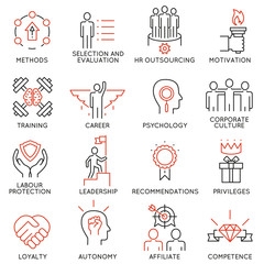 Vector set of 16 linear thin icons related to striving for success, leadership development, career progress, corporate management. Mono line pictograms and infographics design elements - part 1