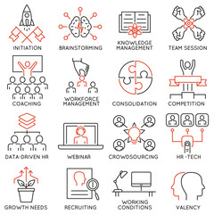 Vector set of 16 linear thin icons related to striving for success, leadership development, career progress, corporate management. Mono line pictograms and infographics design elements - part 2