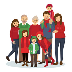 Happy big family in Christmas theme clothes