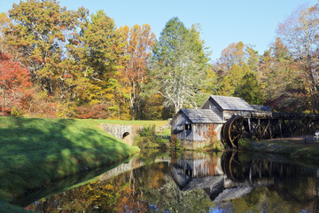 Wall Murals Mills Historic Mabry Mill on the Blue Ridge Parkway in Meadows of Dan, Virginia in the fall