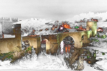 abstract surreal landscape photography of San Martin Bridge in the city of Toledo, Castilla La Mancha, Spain