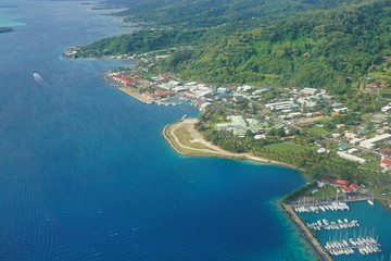 Aerial view of coastal town of Uturoa in Raiatea island, south Pacific ocean, Society islands, French Polynesia