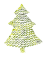 Decorative watercolor firtree