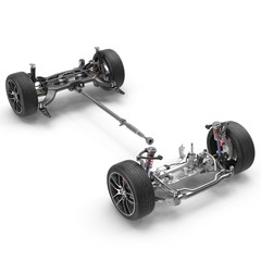 car chassis isolated on white. 3D illustration