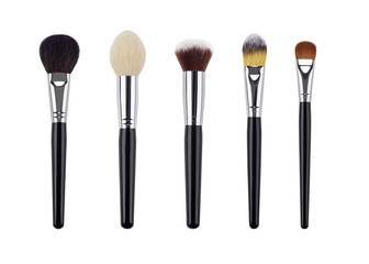 Makeup brush set. Isolated. White background