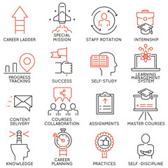 Vector set of 16 linear thin icons related to striving for success, leadership development, career progress, corporate management. Mono line pictograms and infographics design elements - part 4