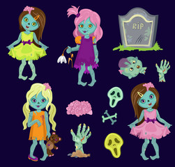 Big collection zombie girls. Cartoon Vector illustration in a single layer without gradients.