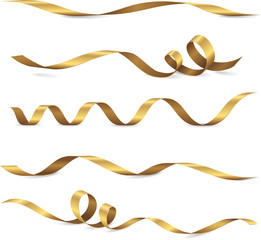 Set of five shiny golden ribbons. Vector realistic elements for your design greeting or gift card and invitation for holidays. Isolated from the background...