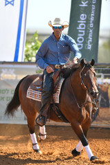 The front view of a rider in cowboy chaps, boots and hat on a horseback performs an exercise during a competition