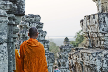 buddhist monk at angkor wat temple near siem reap cambodia