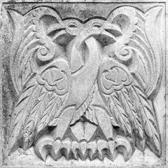 two fairy fire birds, bas-relief