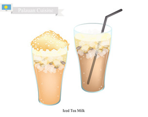 Palauan Cuisine, Traditional Ice Tea Served with Milk. One of The Most Popular Drink in Palau.