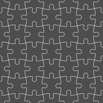 Jigsaw puzzle seamless background. Mosaic of grey puzzle pieces with white outline in linear arrangement. Simple flat vector illustration.