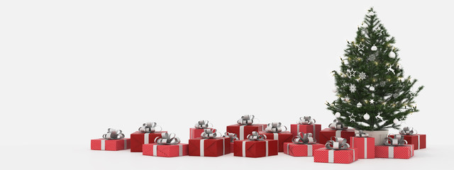 christmas tree with presents isolated on white. 3d rendering
