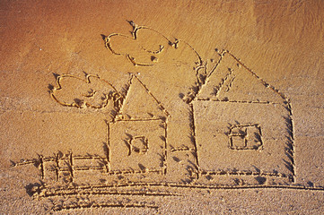 Drawing of lodges on sea sand. Sea tour. House and family.