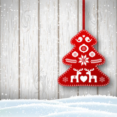 Christmas decoration in scandinavian style, red rich decorated tree in front of white wooden wall, illustration