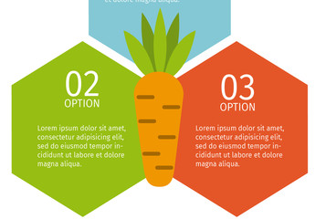 3 Hexagonal Tile Nutrition Infographic with Carrot Icon