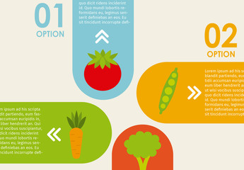 Multidirectional Tab Nutrition Infographic with Food Icons 2