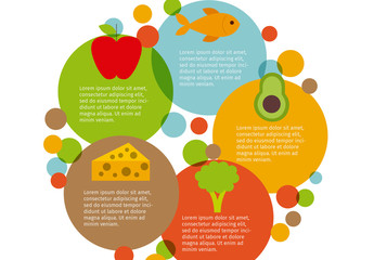 Overlapping Circle Nutrition Infographic with Food Icons