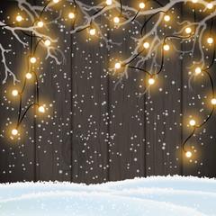 Christmas background, yellow lights on dark wood, illustration