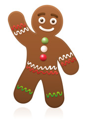 Gingerbread man waving - cute and sweet christmas cookie.