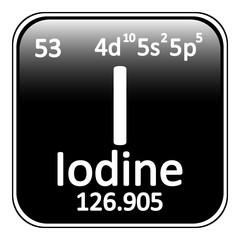 Periodic table element iodine icon.