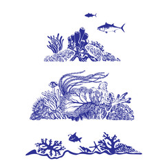 Underwater world and beautiful sealife. Fish, coral reef, polyps and deep water plants. Vector Illustration