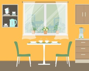 Kitchen in orange color. There is a table, two green chairs, shelves, a window with flowers and other objects in the picture. Vector illustration