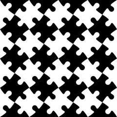 Jigsaw puzzle seamless background. Mosaic of black and white puzzle pieces in diagonal arrangement. Simple flat vector illustration.