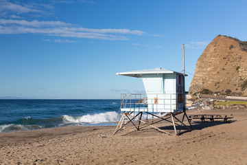 California lifeguard post on sandy beach