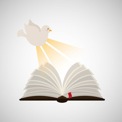 holy spirit open bible icon religion design vector illustration