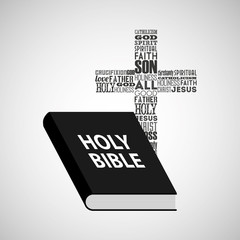holy bible religious cross with words vector illustration eps 10