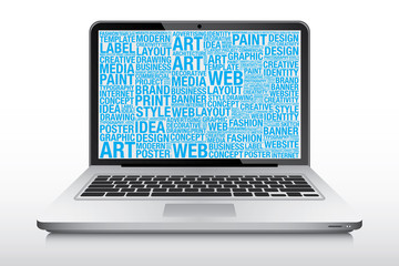 Laptop computer screen with technology design word cloud vector