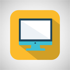 cartoon monitor computer with shadow yellow background vector illustration