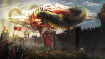 Chinese dragon attacking the city