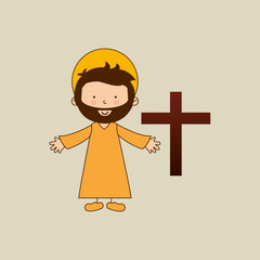jesus christ open arms with bible design vector illustration