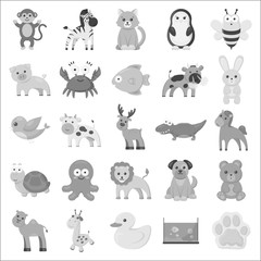 Animals set icons in monochrome style. Big collection of animals vector symbol stock illustration