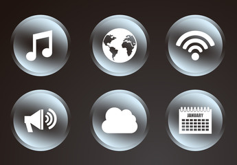 16 Circular Grayscale Gradient Social Media and Web Icons