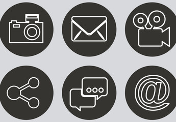 9 Black and White Circular Social Media and and Web Icons