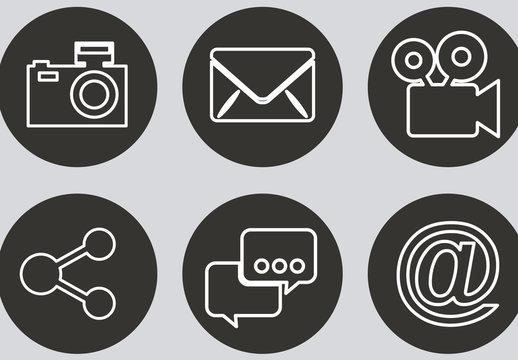 9 Black and White Circular Social Media and and Web Icons