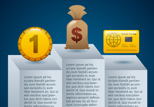 Winner's Podium Element Finance Infographic with Currency Icons