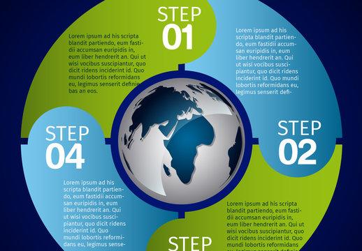 Planet Earth and Circular Tab Set Global Data Infographic