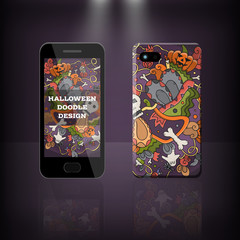 Vector realistic phone and case design of Halloween doodle cartoon style. Concept of corporate identity brand. Design for cover stationery.