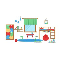 Boy baby room vector set.
