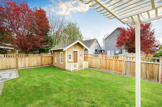 Small wooden shed in the back yard